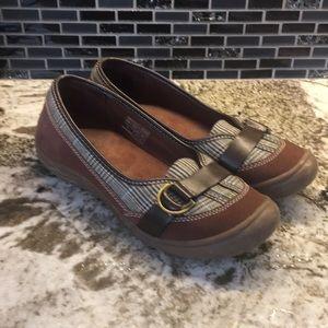 Lands End leather slip on loafers